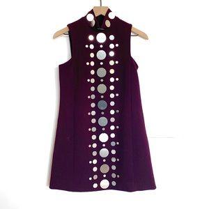 ASOS • Maroon Mirror Embellished High Neck Dress